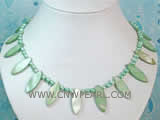 5-6mm green elliptical freshwater pearl &  necklace