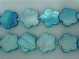"16"" 15-15mm blue flower shape loose shell strand"