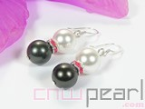 10mm white & black shell pearl & red water_diamond earrings