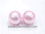 round pink south sea shell pearl 2 beads