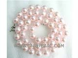 "18"" 10mm light pink color shell pearl necklace"