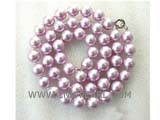 "18.5"" 10mm lavender color shell pearl necklace"