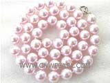 "18.5"" 10mm pink color shell pearl necklace"