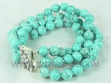 10mm green round culture turquoise bracelet
