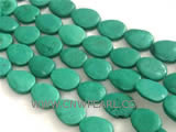 20-28mm green elliptical natural loose turquoise beads