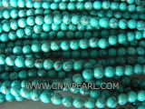 5mm blue round & black thread natural loose turquoise beads