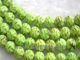 14mm yellow carved natural loose turquoise strand