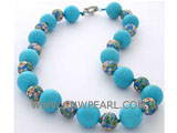 18mm blue round natural turquoise necklace