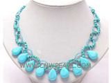6-12mm blue melon seeds shape natural turquoise necklace