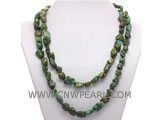 8-10mm dark green irregular natural turquoise necklace