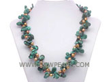 8-10mm melon seeds natural turquoise &  freshwater pearl necklac