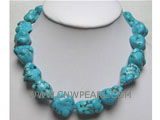 18-20mm blue irregular natural turquoise necklace