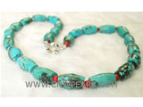 10-13mm blue column shape natural turquoise & coral necklace