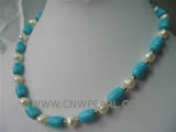 8-12mm blue column shape natural turquoise & pearl necklace