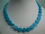 12mm blue flat natural turquoise necklace