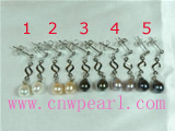 8-9mm freshwater pearl earrings with twisted mounting