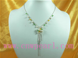 tin cup pearl necklace with crystal beads