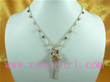 4-5mm pink freshwater pearl necklace white metal chain