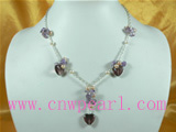 4-5mm pink freshwater pearl necklace with crystal beads
