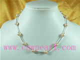 6-7mm pink freshwater pearl necklace