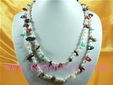6-7mm white rice pearl and 10*13 bister pearl necklace