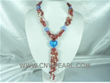 wholesale red heart shape glaze braid pearl necklace