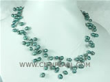 6-7mm blue top drilled potato freshwater pearl necklace