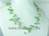 6-7mm green top drilled potato freshwater pearl necklace