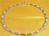 7-8mm freshwater pearl necklace with alloyn beads
