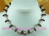 5-6mm white pearl and purple crystal wafer necklace
