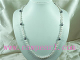 7-8mm white freshwater pearl necklace with shell pearl jewelry