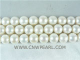 wholesale 9-10mm natural white round freshwater pearl strand