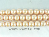 wholesale 9-10mm natural pink round freshwater pearl strand