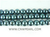 wholesale 8-9mm peacock green round freshwater pearl strand