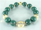 "7.5"" dark green gemstone bracelet with different golden ball"