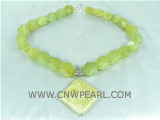 beauty green jade necklace with a 35mm rhombus pendant
