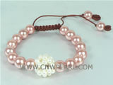 adjustable knitted bracelet with 10mm pink shell pearl