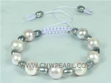 adjustable knitted bracelet with potato and rice pearls