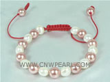 adjustable  bracelet with freshwater pearls and shell pearls