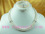 6-7mm two strands pearl necklace set