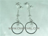 fashion 925 silver dangling earrings with single ring