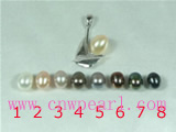 6*8mm rice pearl pendant with sailboat pendant mounting