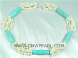 twisted white coral necklace with 12*40mm column turquoise beads