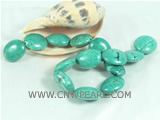 wholesale 25*29mm dark green oval turquoise strand